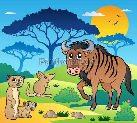 savannah scenery with animals 3