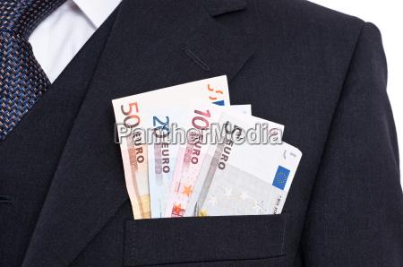 tie suit and euro bills