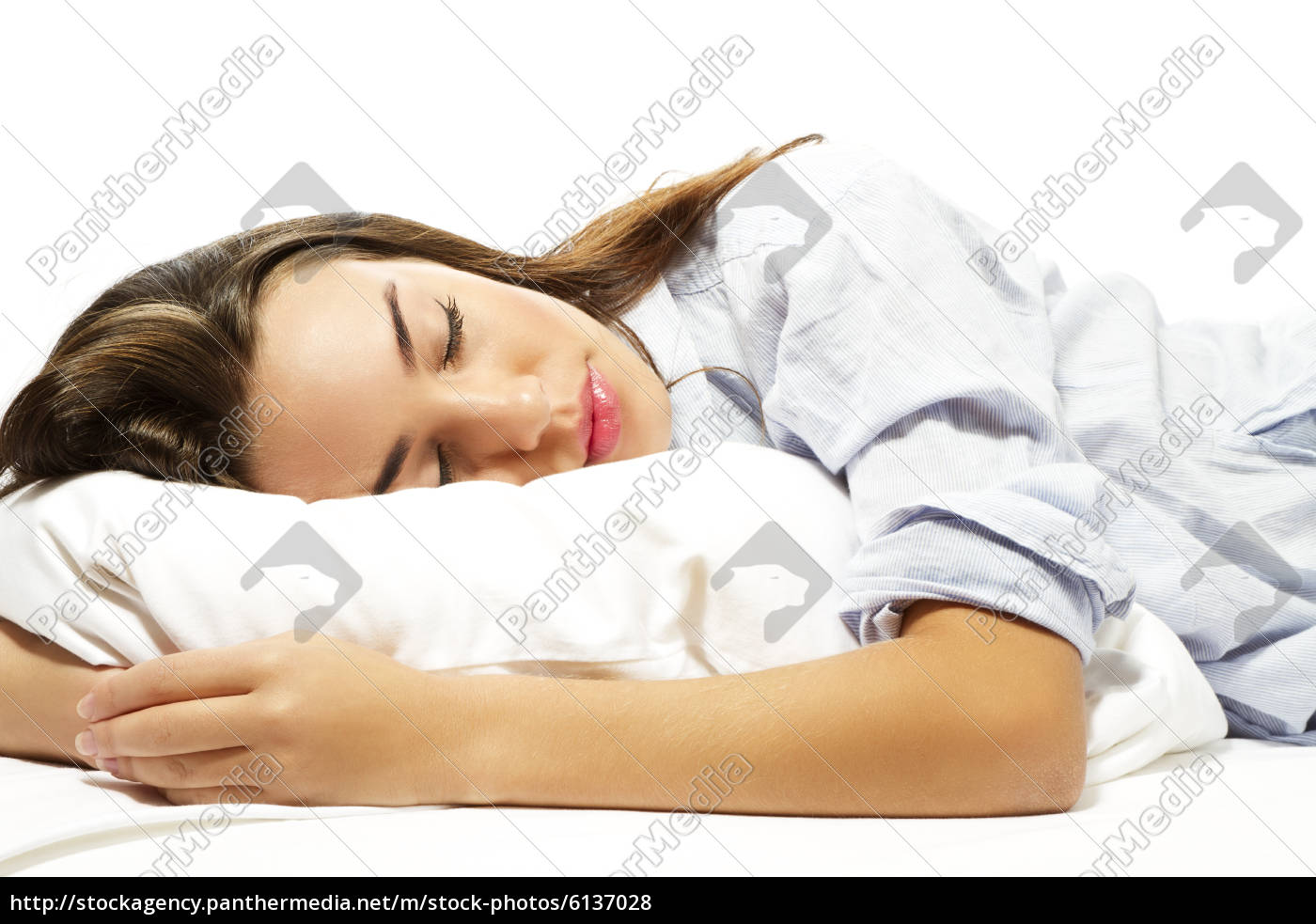 nahaufnahme, einer, schönen, schlafenden, frau - 6137028