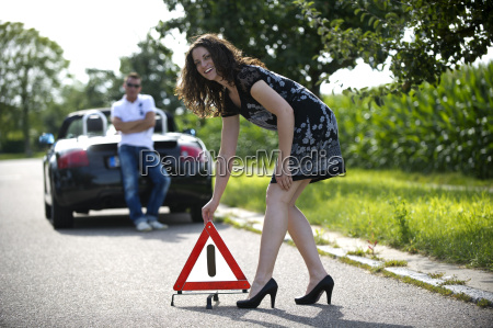 warning triangle up after a breakdown