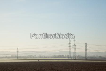 electricity pylon farmland