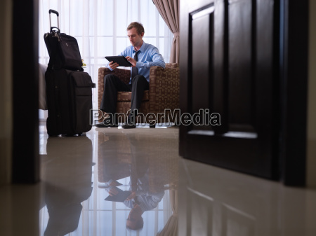 businessman using digital tablet pc in