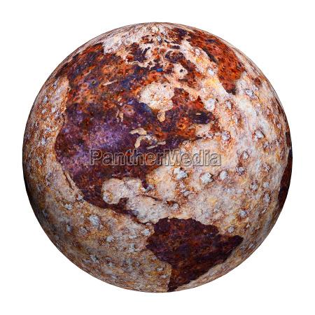 terrestrische globus korrosionsflecken auf eisen