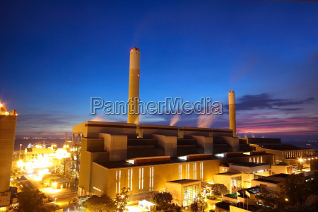 coal power station and night blue