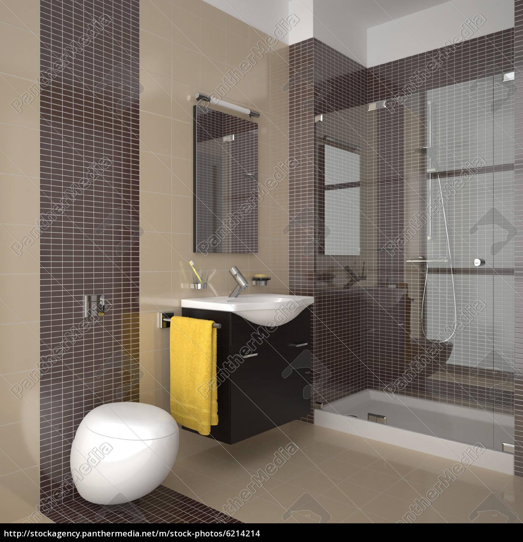 modernes badezimmer mit beige und braun fliesen - Stock Photo ... | {Modernes badezimmer beige 57}