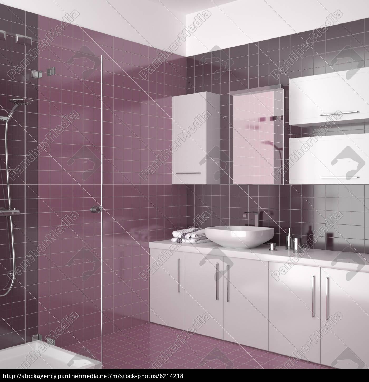 Stockfoto 20   modernes badezimmer mit lila