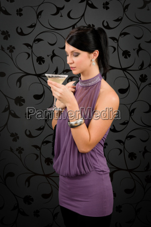 woman party dress drink cocktail glass