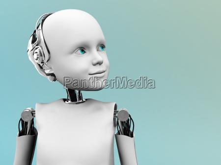 das gesicht eines kindes roboter