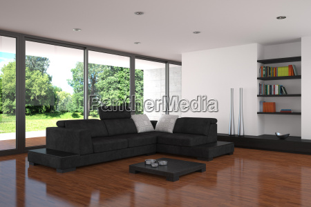 moderne wohnzimmer mit parkettboden