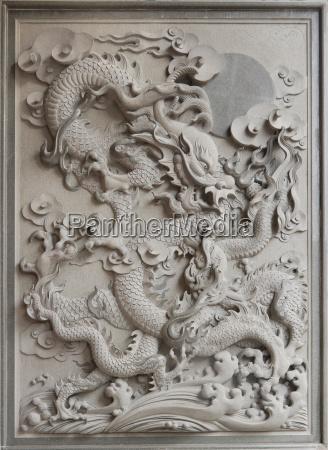 chinese dragon granite stone carving