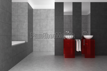 gefliestes bad mit doppelwaschbecken und badewanne