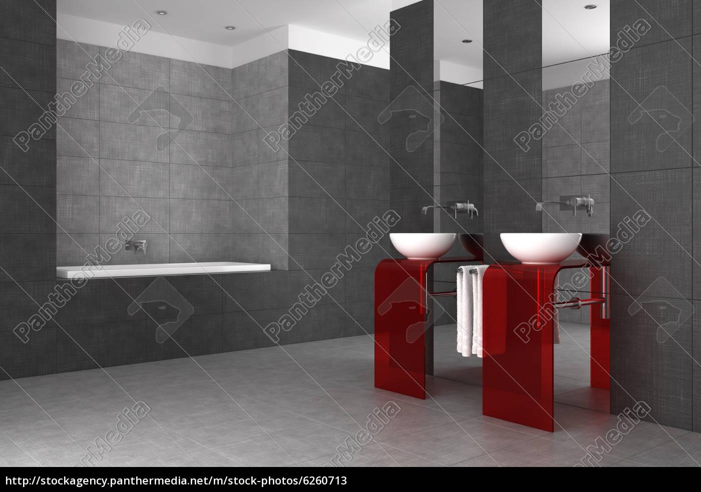 Gefliestes Bad Mit Zwei Waschbecken Und Badewanne Lizenzfreies