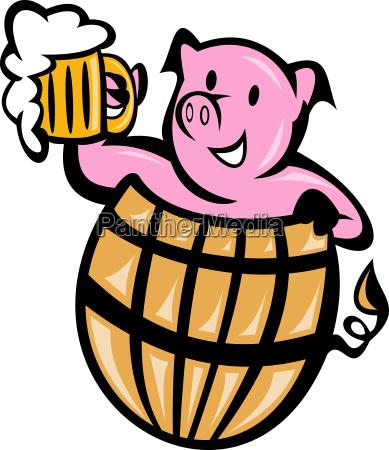 pig pork in barrel with beer