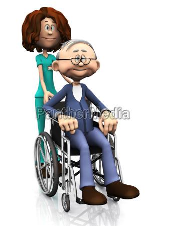 cartoon krankenschwester aelterer mann im rollstuhl