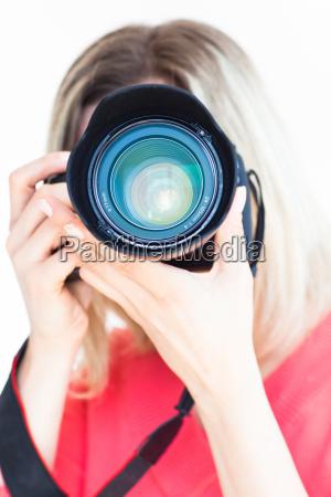 frau freisteller foto fotocamera fotoapparat kamera