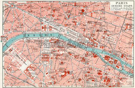 karte des zentrums von paris