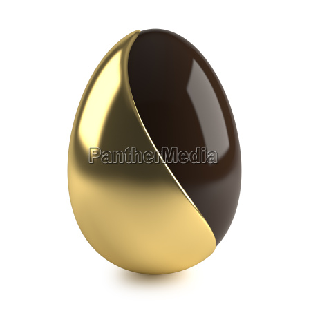 chocolate easter egg with golden decoration