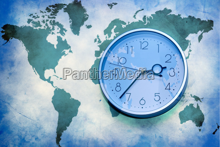 world map with wall clock