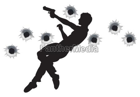 action held in schiesserei silhouette