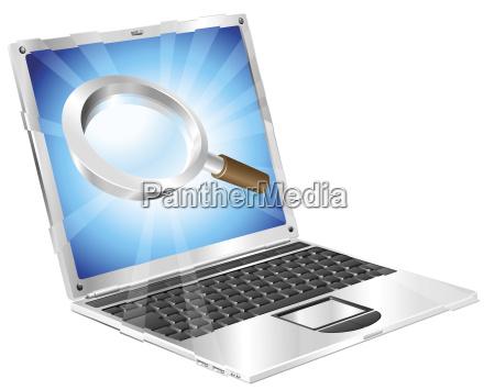 lupe suchsymbol laptop konzept