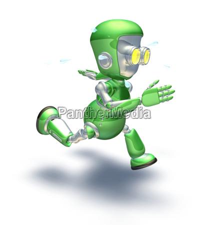 nettes gruenes metallroboterzeichen laeuft ein sprint