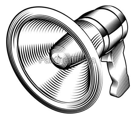 black and white megaphone