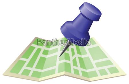illustration einer strassenkarte mit zeichnung push
