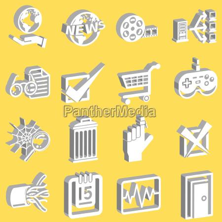 3d internet web icon series set