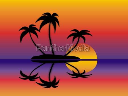 3 palmen im sonnenuntergang grafik