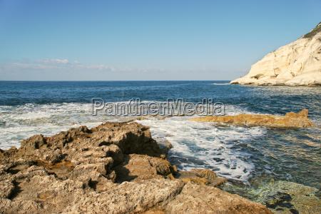 view on coastal rocks and chalk