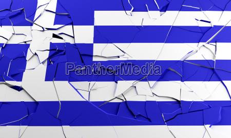 unterbrochene griechische flagge