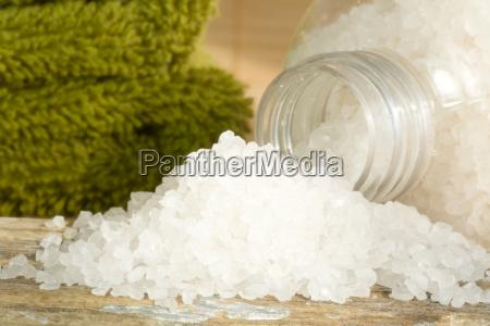 spa scene with bath salts