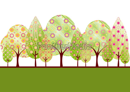abstract springtime tree with colorful flower