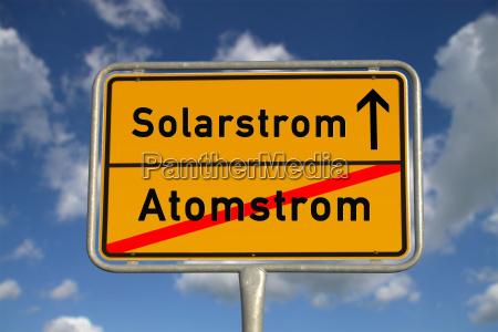 german town sign nuclear power solar