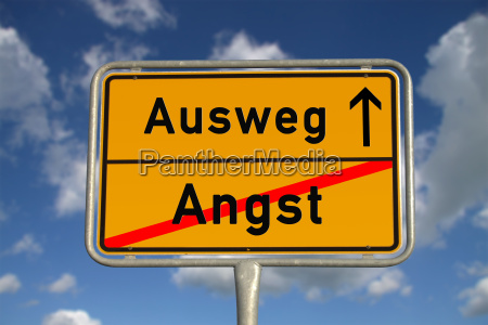 german town sign scared way out