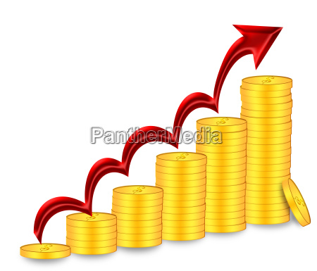 stacks of gold coins with red