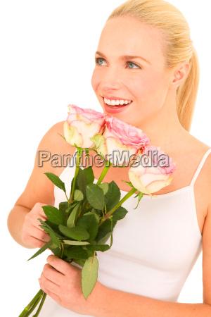frau mit rosen