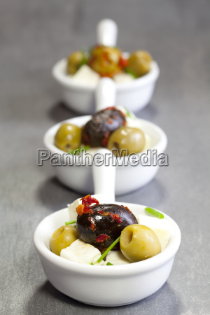 olives with feta cheese in a