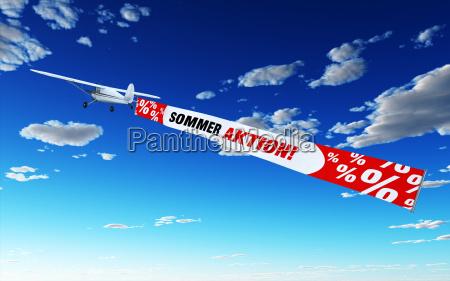 flugzeug mit banner sommer aktion