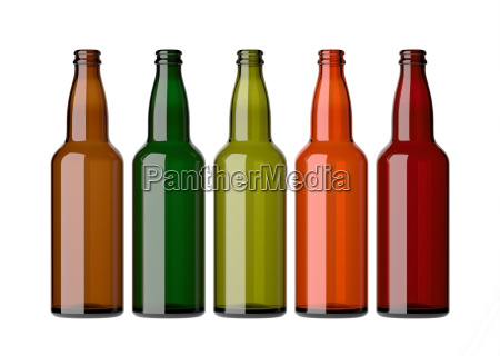 colorful empty bottles on white