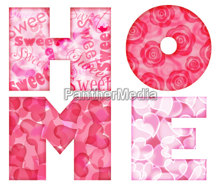 home alphabet letters with floral and