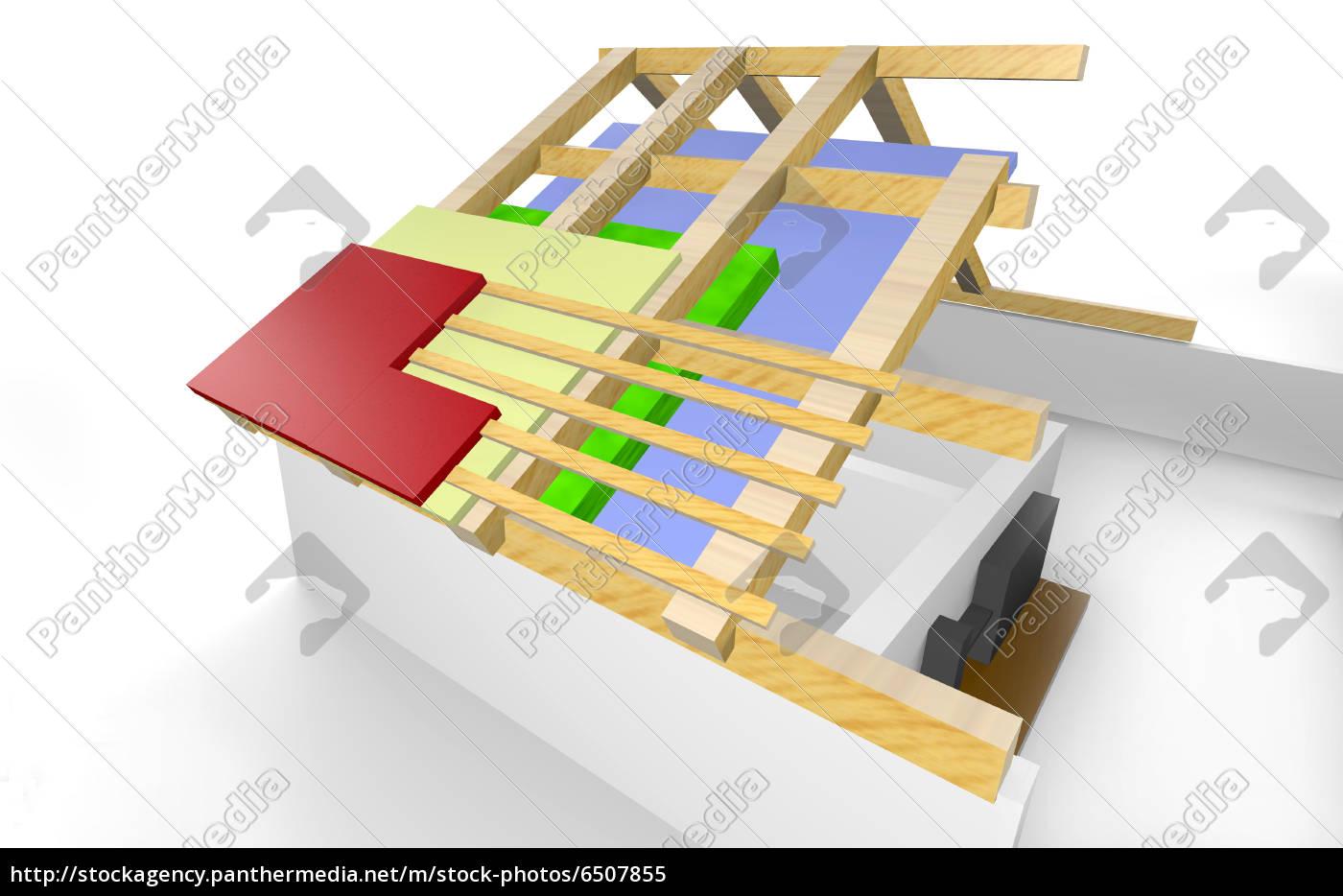 Stockfoto 6507855 - Dachkonstruktion Wärmedämmung beim Haus
