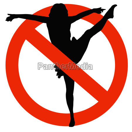 dancer silhouette on traffic prohibition sign
