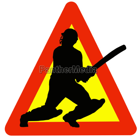cricket player silhouette on traffic warning
