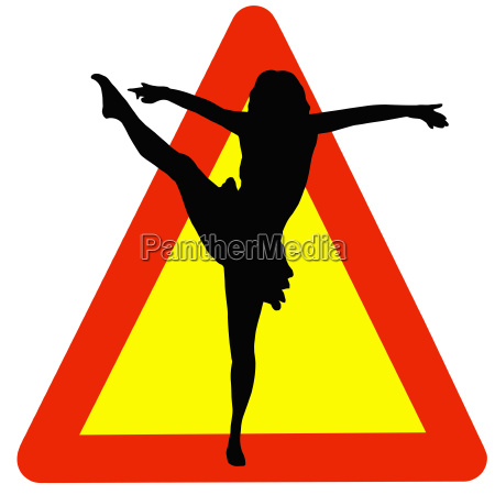 dancer silhouette on traffic warning sign