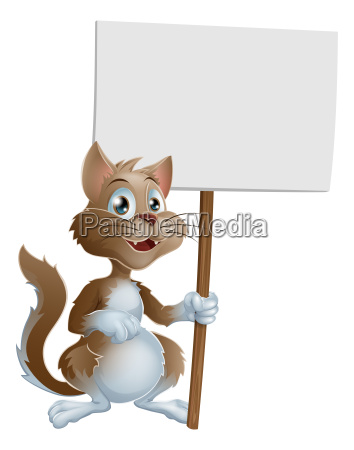 cute cartoon cat character with sign