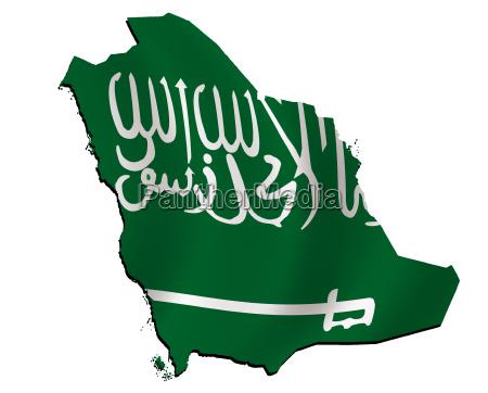 map saudi arabia with flag