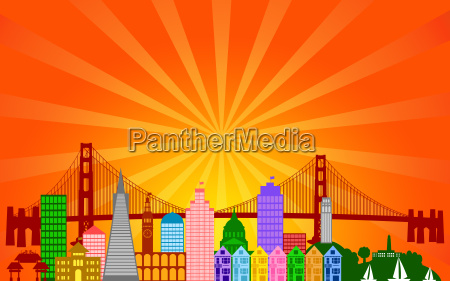 san francisco city skyline panorama