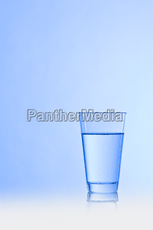 water glass with blue background