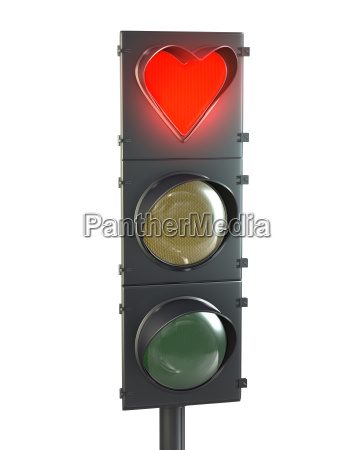traffic light with heart shaped red